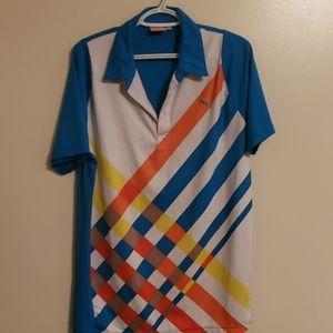 *Puma*~Mens Golf Polo~ blue white striped Sz Med